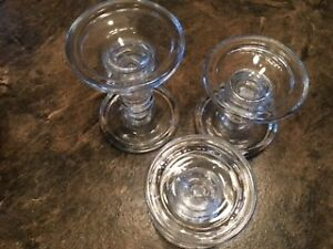 Three glass candle holders