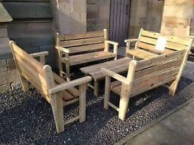 garden set 4 benches 2 seater each *HAND MADE RAW SOLID TREATED TIMBER*****