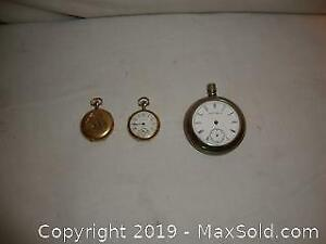 3 Antique pocket watches 1 Railway & 2 gold plated