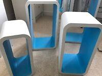 4 Floating shelves - white exterior, blue interior