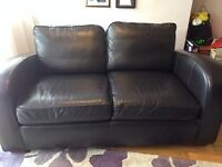 Next Dark Brown Leather Sofa 2 Seater (Hardly Used)