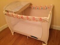 Travel cot and rocking moses basket