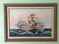 Naval Scene Painted by J. Harvey