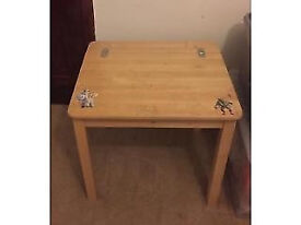 Childs Natural Wood Desk Chair And Set
