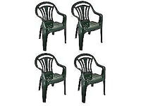 FOUR GARDEN CHAIRS - GREEN - STACKABLE - CLACTON CO15 6AJ Clacton-on-Sea