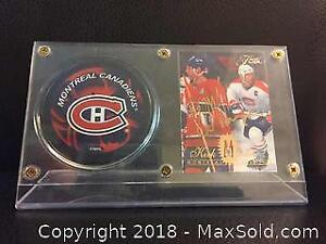 Signed Kirk Muller Card Display with Puck