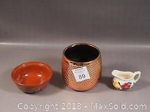 Middle Eastern pottery Bowl, Gold Tone flower pot and small pottery creamer