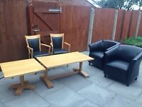 2 chairs 2 oak tables and 2 faux leather sofa chairs bargain