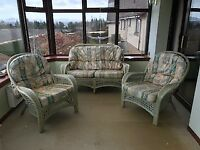 Conservatory 3 piece cane suite, bargain price for quick sale