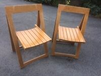 2 habitat fold up wooden chairs