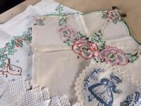 Vintage Table Cloths and Mats, only £8! Lovely set of two tablecloths, one tray cloth, two mats.