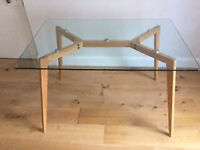 Glass-topped dining table - perfect condition