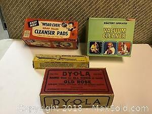 4 vintage advertising boxes with products inside