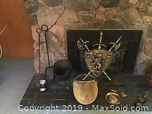 Fireplace Tools, Medieval like brass weapons shield plus Accessories