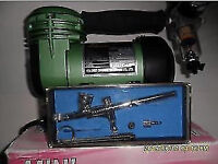 air brush kit c/w compressor and duel action air brush swap only not free