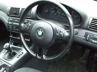 BMW e46 compact 318 320td steering wheel in leather BREAKING FOR PARTS