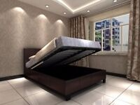 Brand new king size leather storage bed with orthopedic mattress
