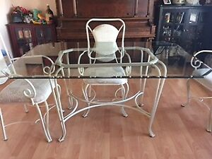 Glass Table Top with 4 Chairs
