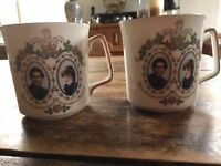 Two Charles and Diana bone china mugs