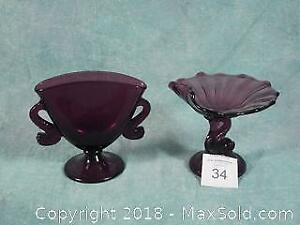 Amethyst Purple Glass Dolphin Vase and Candy Dish