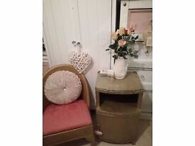 Beautiful Gold Lloyd Loom Occasional/Hall/Bedroom chair and Matching Cabinet £15 Each ONO