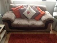 2 seater leather and corduroy settee