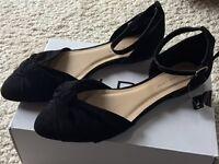 Shoes - Black Suede - Size 7(40) Wide Fit