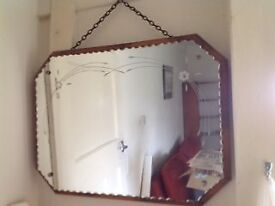 Vintage Mirror 1950's with chain hanging - excellent condition