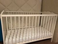 IKEA white cot with mattress