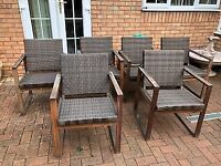 6 Patio chairs , Teak Wood with rattan seating