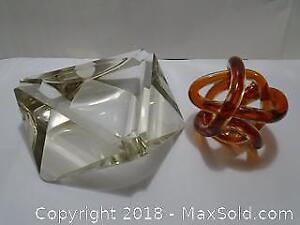 Two (2) Mid-Century Modern (MCM) Art Glass Items