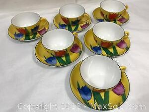 Vintage 1920's Japan Art Deco Cup and Saucers x 6
