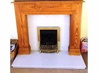 wooden fire surround and fittings
