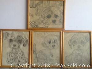 Vintage Pencil Hand Done Drawings 1971