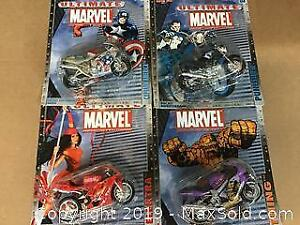lot of 4 carded Marvel Superheroes on motorcycles
