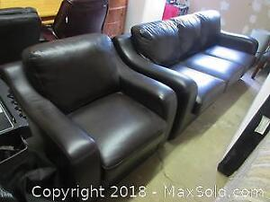 Leather Chesterfield And Chair C