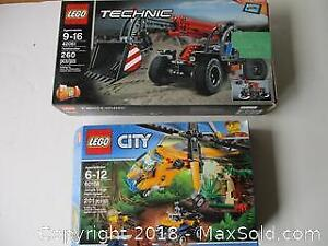 Two LEGO Sets. Jungle Cargo Helicopter 201 Pieces #60158. Telehandler Technic 260 Pieces #42061.