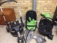 OBaby Chase 3 Black & Lime Pushchair Stroller Plus Car Seat