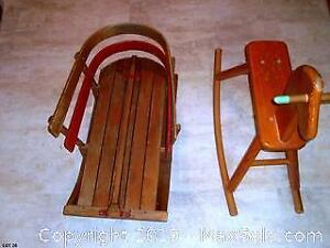 VINTAGE WOODEN KIDS SLEIGH AND ROCKING HORSE