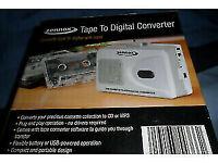 cassette tape to digital converter cd/mp3/or laptop puts tape on cd disc