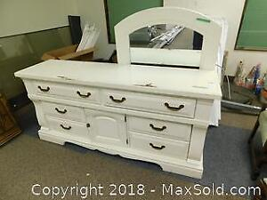 Painted Wood Dresser And Mirror B