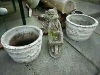 Pair of Large Heavy Garden Planters