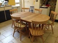 HAND-MADE SOLID WOOD KITCHEN TABLE AND 6 MATCHING CHAIRS