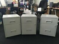 3 x 2 drawer A4 mobile filing cabinets Grey