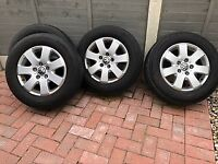 4 VW T5 alloy wheels and tyres 215/65R16