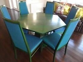 HEXAGON DINING TABLE AND SIX CHAIRS SOLID WOOD WITH GREEN STAIN,BLUE UPHOLSTERY