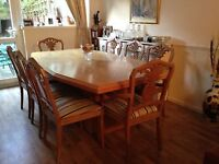 STUNNING Designer Limed Oak Dining Table with 8 chairs