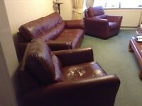 Maroon brown real leather 3 piece sofa suite and 2 single chairs