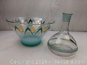 Retro Atomic Inspired Large Serving Bowl and Decanter
