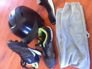 Softball /  Baseball Shoes (size 10) helmet (size 6-7)